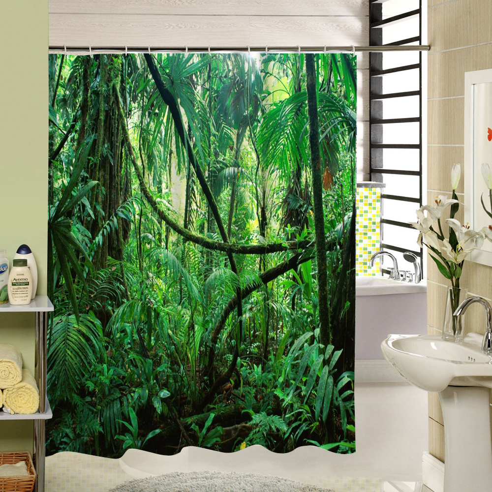 Online Shop WARM TOUR Forest Shower Curtain Green Bamboo Zen Pattern Fabric  Eco Friendly Waterproof Mildewproof For Home Hotel Bath Decor | Aliexpress  ...
