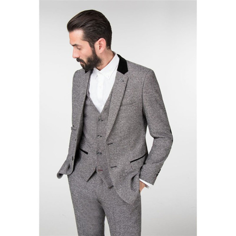 2017 winter light grey tweed men wedding suits new slim. Black Bedroom Furniture Sets. Home Design Ideas