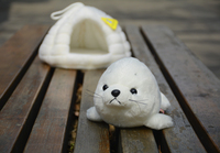 Candice guo Plush toy stuffed doll cartoon animal seal dog sea lion with ice house hole baby birthday gift Christmas present 1pc
