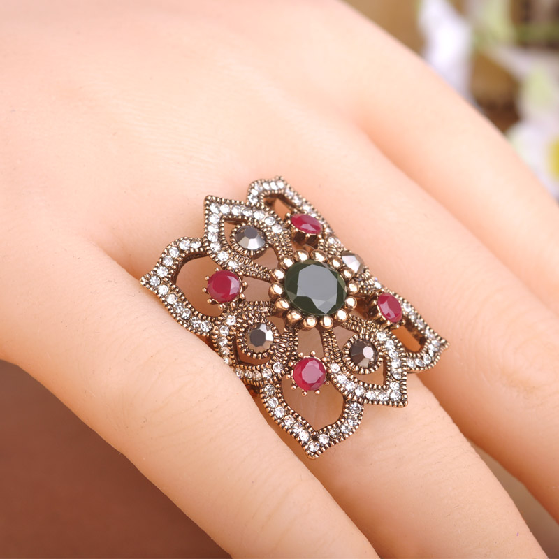 Blucome Clearance Luxury Retro Style Exquisite Square Big Ring Turkish Female Engagement Wedding Ring Finger Accessories Jewelry