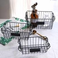 American wrought iron retro storage basket home bathroom kitchen storage basket books snacks debris storage basket fruit basket