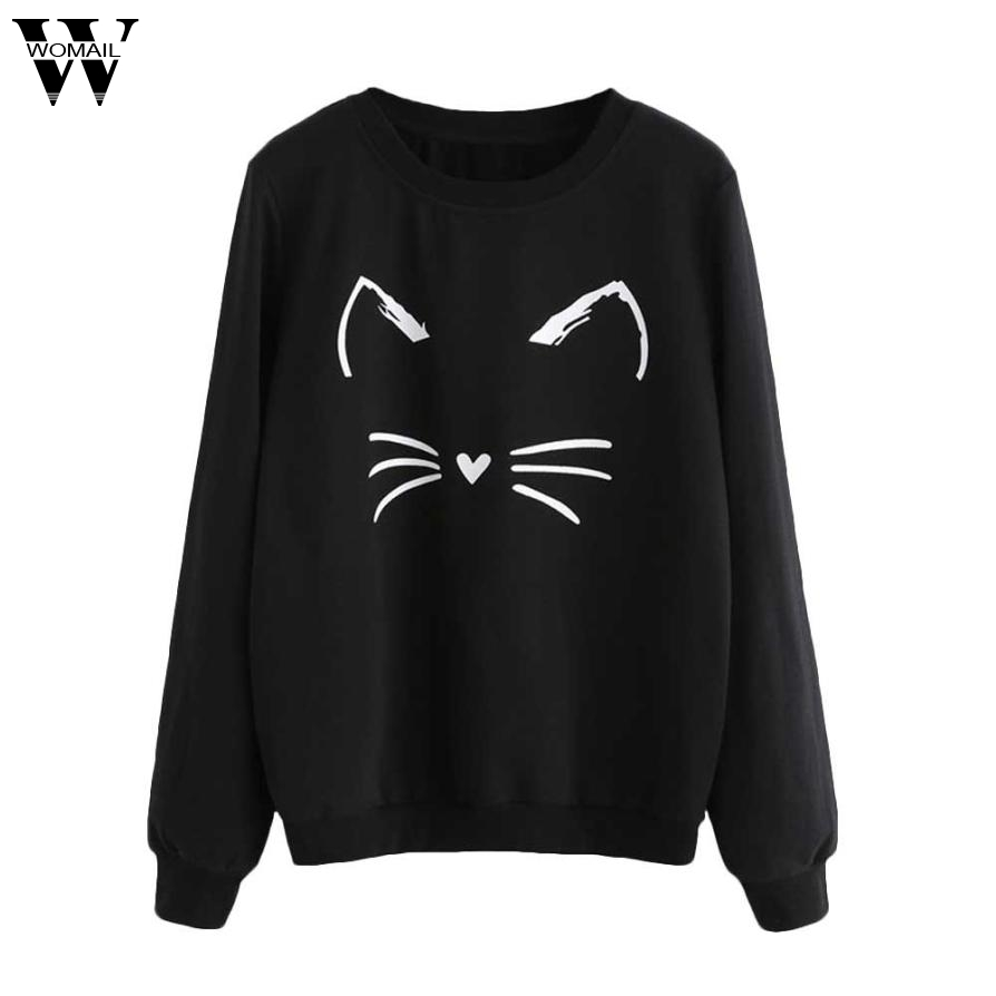 2017 WOMAIL Cartoon Cat Print Sweatshirt Long Sleeve Casual Women Pullovers Black Round Neck Cute Sweatshirt for Women nv7 m30