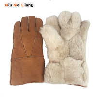 Men winter leather Gloves New genuine sheepskin leather glove for men Outdoor warm fur thickening thermal patchwork gloves G31
