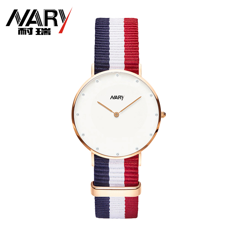 12 Color Rose Gold Dial Nylon Sport Watches Women NAR
