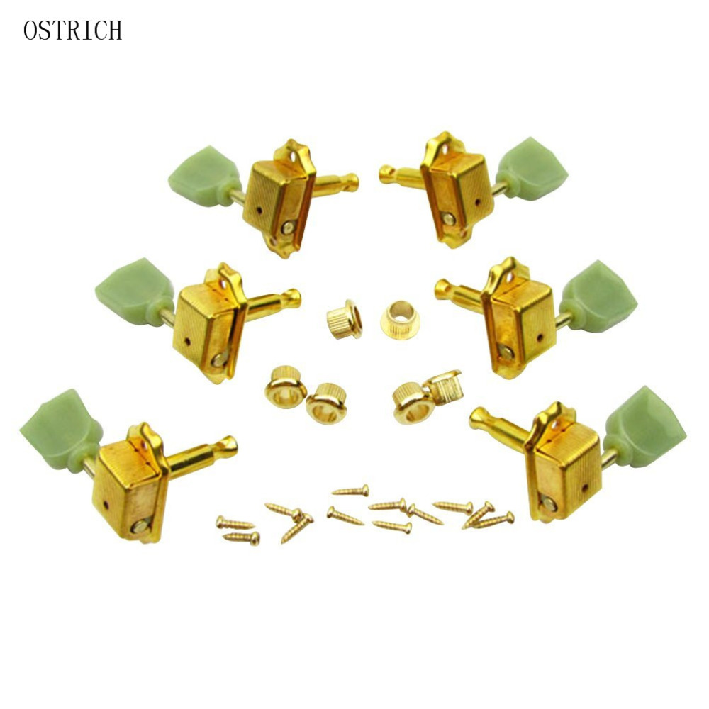 Ostrlch 3 Right 3 Left K Style Guitar Tombstone Tuning Keys Pegs Machine Head Tuners Set for Replacement,Chrome