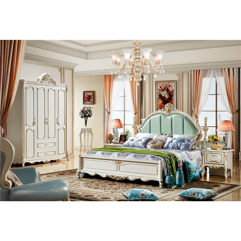 Bed Room Furniture French Style Wood Luxury King Size Bed