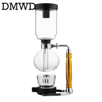 DMWD Japanese Style Siphon Coffee Maker Tea Siphon Pot Vacuum Coffeemaker Glass Hydrocone Type Coffee Machine