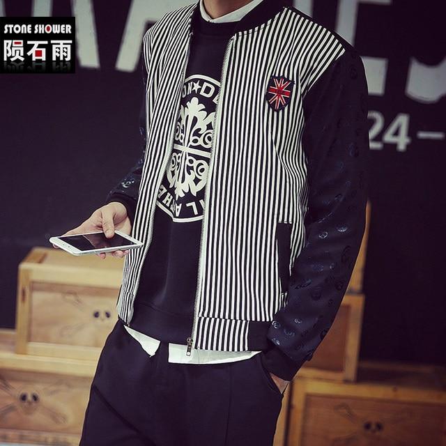 Корейских мужчин черепа вертикальная полоса куртка с флисовой подкладкой хлопка бейсбол хип-хоп зимняя куртка мода пальто