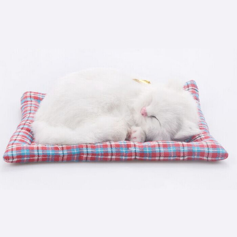 Купить с кэшбэком Simulation animal cat bed dog pet birthday gift Simulation toys for Children sleepping cat dog electronic pet