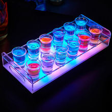 4Pcs 12-Bottle Shot Glass Tray Bullet Vodka Cup Cocktail drinkware Holder colorful LED rechargeable light up Wine cup rack bars