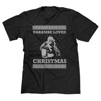 HARAMBE LOVED CHRISTMAS UGLY SWEATER FUNNY XMAS GORILLA LIVES MATTER T SHIRT TEE