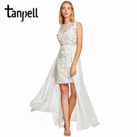 Tanpell sheath cocktail dress ivory cap sleeves knee length gown cheap women scoop neck wedding party asymmetry cocktail dresses