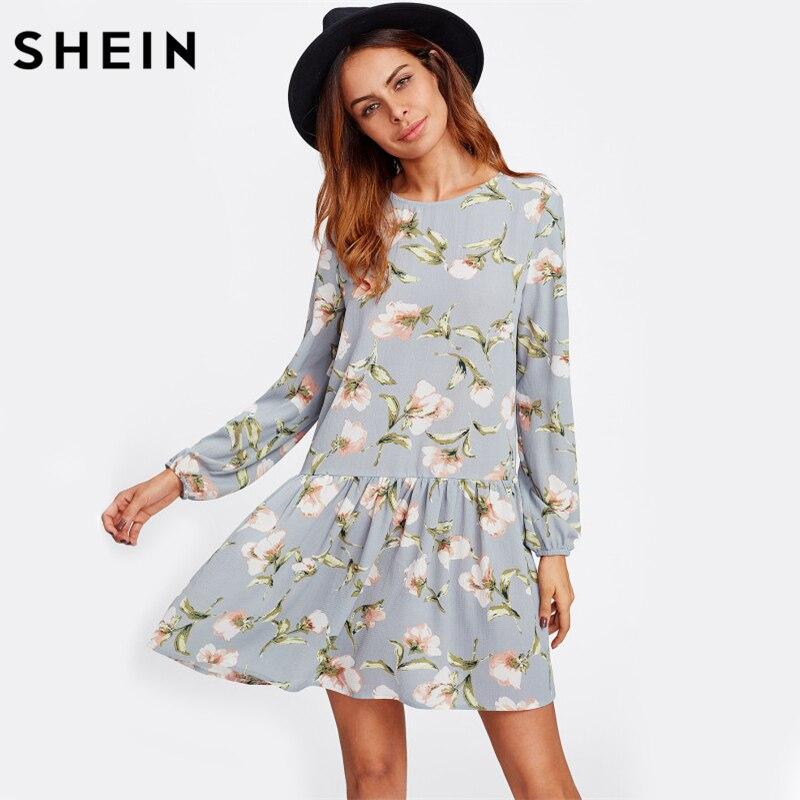 SHEIN Allover Flower Print Drop Waist A Line Dress Grey Long Sleeve Round Neck Cut Out