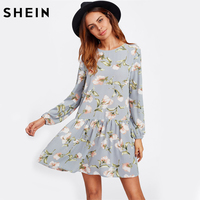 SHEIN Allover Flower Print Drop Waist A Line Dress Grey Long Sleeve Round Neck Cut Out