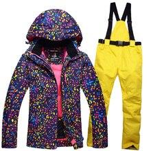 High qualityWomen ski suit set  thickening women's skiing clothing winter outdoor sports ski jacket+ski pants warm free shipping