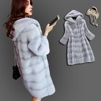 New Winter Warm Artificial Decent Faux Mink Fur Coat with Hood Luxury Fake Fur Coats Plus Size Outwear Women Overcoat
