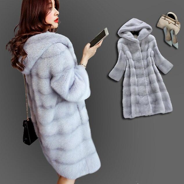 Nouveau hiver chaud artificiel décent Faux vison manteau de fourrure avec capuche de luxe fausse fourrure manteaux grande taille Outwear femmes pardessus