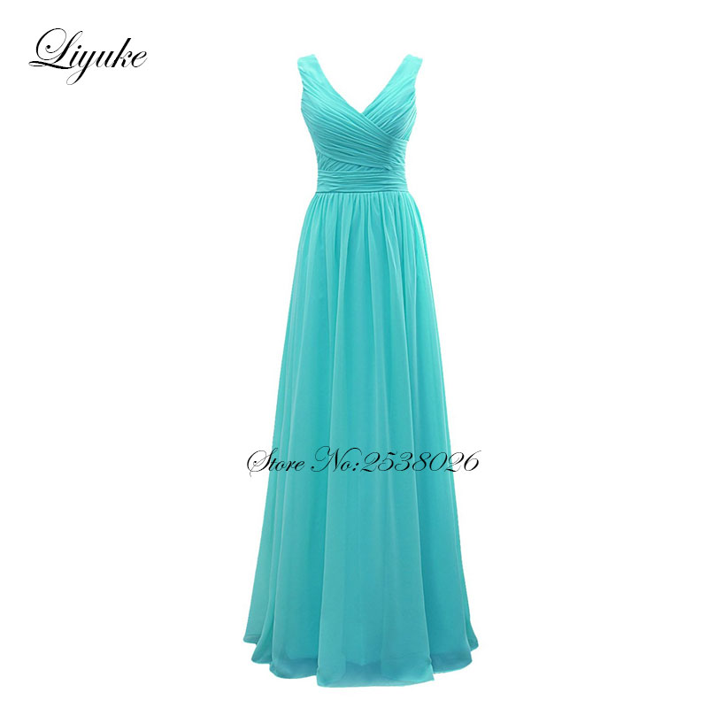 Liyuke Simple V-Neckline Chiffon Pleat Long Formal   Dress   Simple Elegant   Bridesmaid     Dresses   A Line Lace Up Back