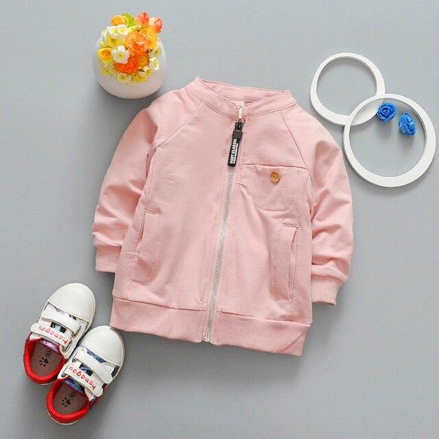 Детский кардиган Новинка 2017 года Детская одежда одноцветное Цвет для маленьких мальчиков Обувь для девочек куртка-бомбер Куртки Дети Осень пальто с длинными рукавами для детей от 0 до 3 лет