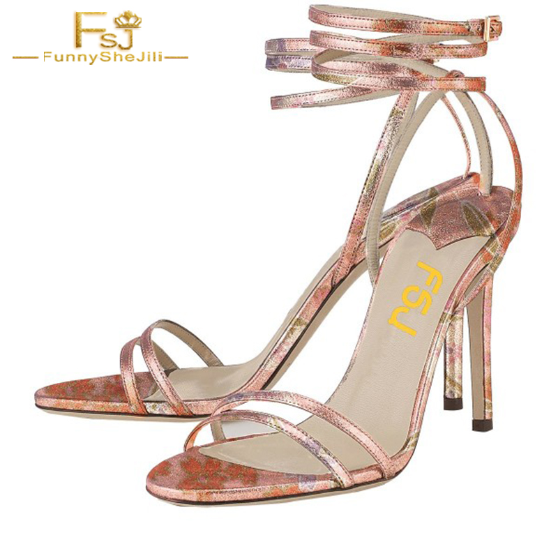 Floral Strappy Sandals Open Toe Woman Shoes Stiletto Heels High Print Embroider Evening Dress Party Ankle Strap Size 11 10 FSJ covibesco nude high heels sandals women ankle strap summer dress shoes woman open toe sandals sexy prom wedding shoes large size