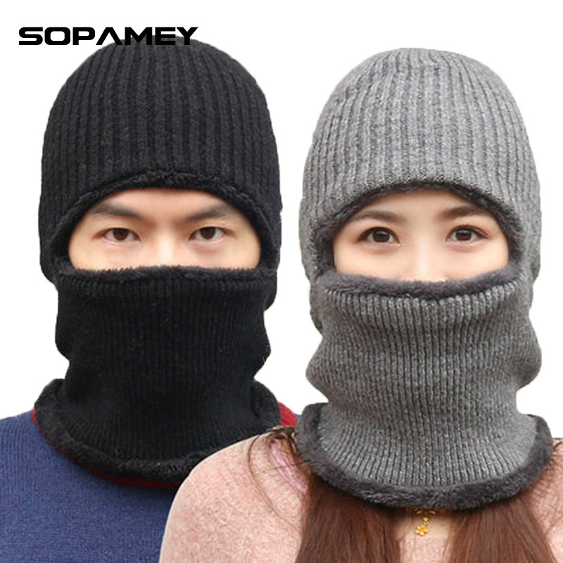 Neck Warmer Ski Cap and Scarf Sets Winter Hat for Women Men Motorcycle Skull Face Mask Knitted Thick Velvet Beanies Hat Bone купить