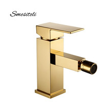 Smesiteli Bathroom Faucet Brass Square Style Gold Finish Bidet Single Lever Mixer Water Tap Fitting Taps 10 Year Warranty