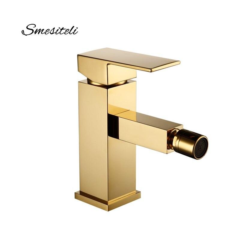 Smesiteli Estilo Acabamento de Ouro Torneira Do Banheiro de Bronze Quadrado Bidé Bidé Única Alavanca Mixer Água Da Torneira Torneiras de Encaixe 10 Ano de Garantia
