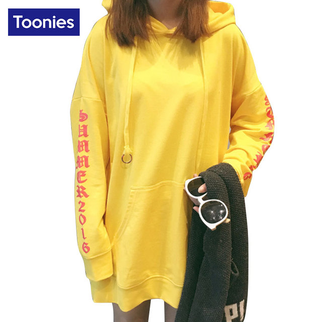 Oversized Yellow Sweatshirt with Hood Long Sleeved Drawstring Letters Printed Big Front Pocket Long Hoodies Pullover Streetwear