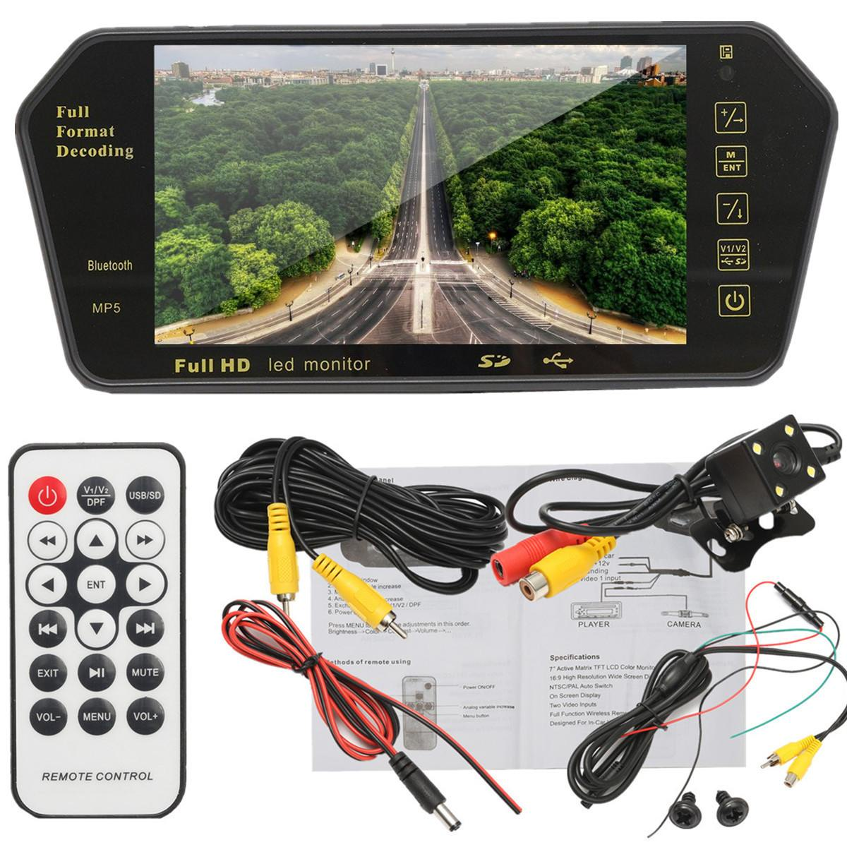 7'' TFT LCD MP5 Bluetooth Car Rear View Parking Mirror Monitor+Reversing Car Camera Wireless RCA View Video Receiver Transmitter