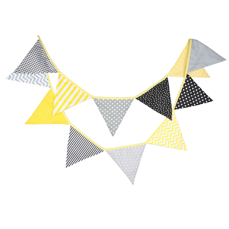 12 Flags 3.2m Elegant Yellow Grey Cotton Fabric Bunting Pennant Flags Banner Garland Baby Shower/Outdoor DIY Home Room Decor