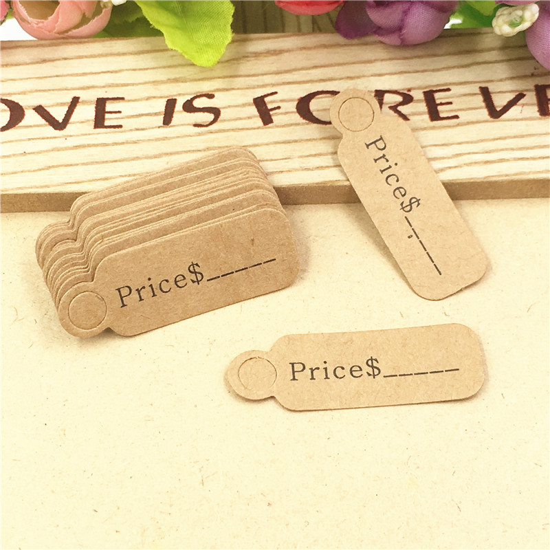 100Pcs 4.5*1.5cm Kraft Price Gift Hang Tag Small Handmade Soap Gift Hang Tag Jewelry/Earrring /Nail Accessories Labels