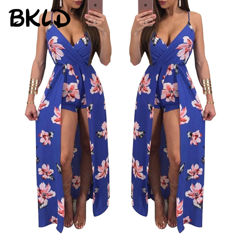 BKLD Floral Print Women Short   Jumpsuit   Romper Deep V 2018 Summer Fashion New Women Ladies Clubwear V Neck Playsuit Bodycon