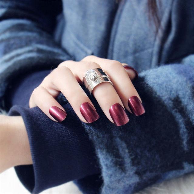 24pcs Wine Red Short Fake Nails Art Tips Acrylic Nail Full False ...