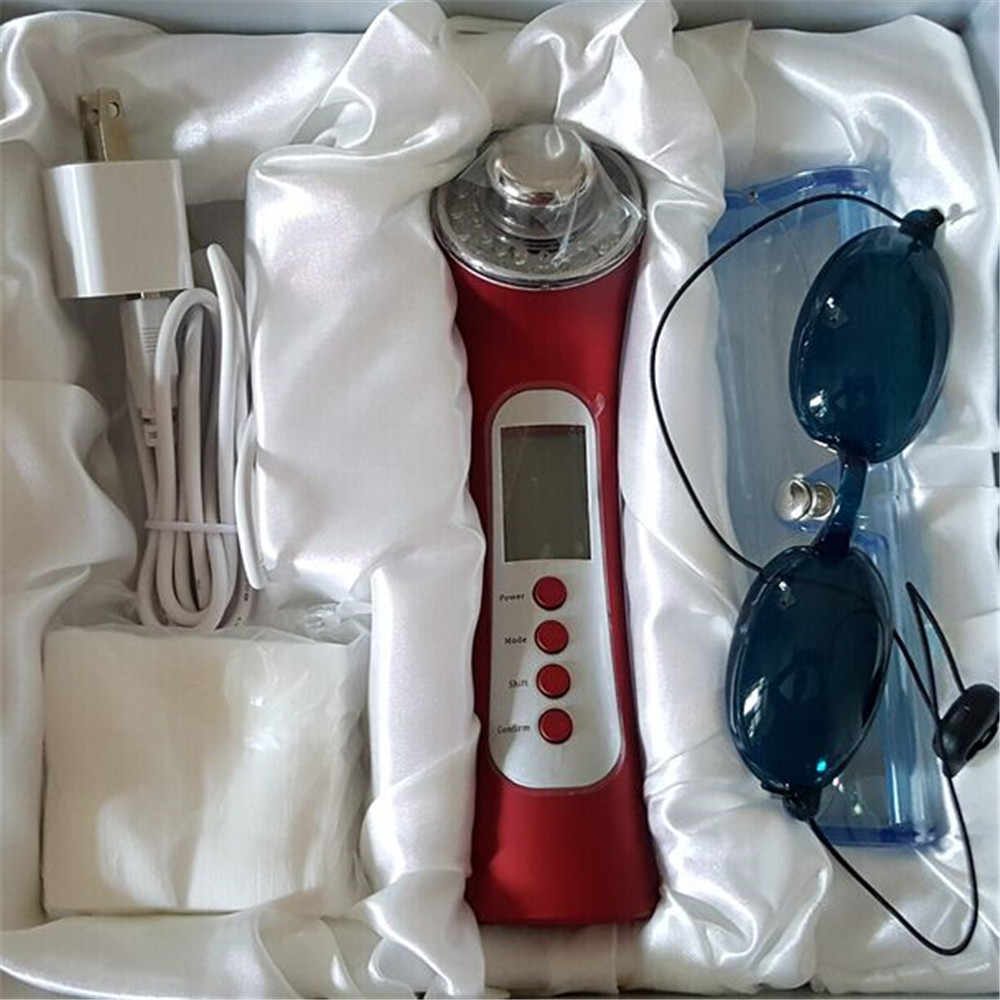 5 IN 1 rechargeable Facial LED Photon Rejuvenation Anti aging Galvanic Skin Cleaner Ion Sonic Ultrasound