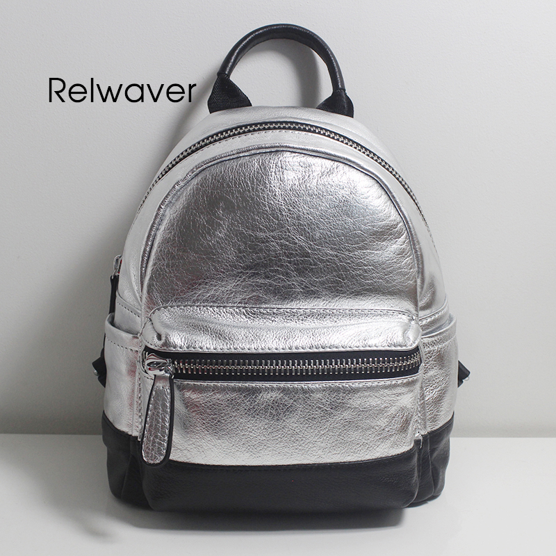 Relwaver backpack silver genuine leather small cow leather school bags zipper fashion stylish soft contrast color backpack womenRelwaver backpack silver genuine leather small cow leather school bags zipper fashion stylish soft contrast color backpack women