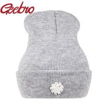 Geebro New Fashion Lovely Floral Crystal Diamond CZ Beanies Female Warm Kintted Hat Hip Hop Winter Cap Women Bonnet Gorros JS223