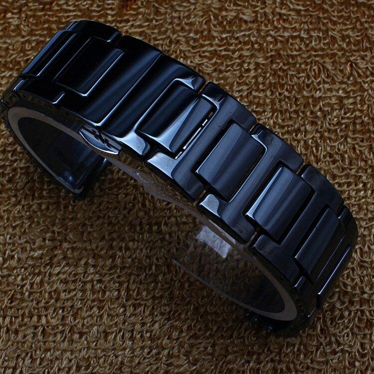 New Arrival Replacement Black Ceramic Watchbands men women watches accessories strap bracelet band 14mm 20mm ceramic