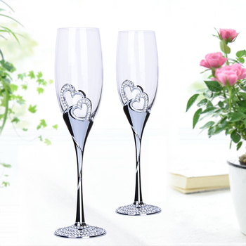 2 PCS / Set High quality Crystal Wedding champagne flute glass Drink Cup Wedding Party marriage Wine decoration cup for Gift box