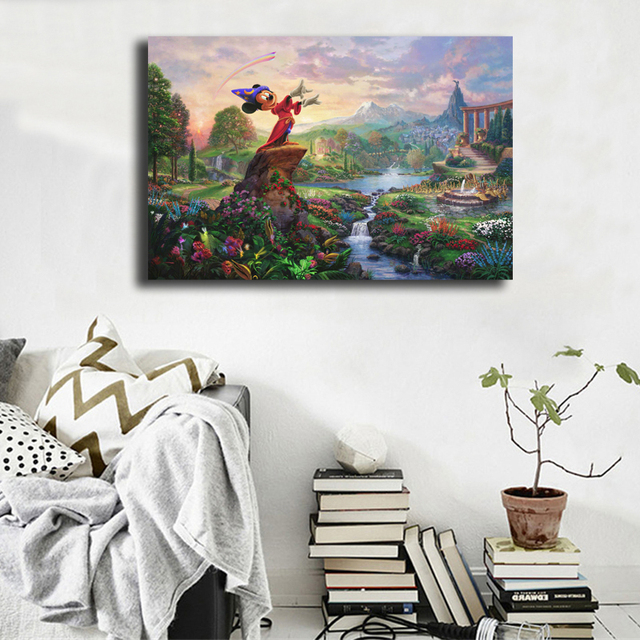 Thomas Kinkade Fantasia Mickey Minnie Canvas Painting