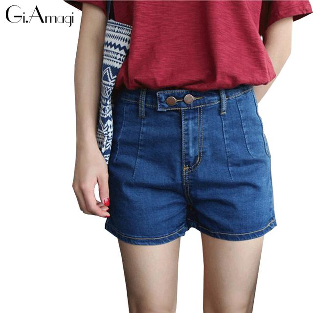 2016 de cintura alta pantalones cortos de mezclilla delgada del estiramiento del verano Delgado más tamaño pantalones vaqueros de las mujeres