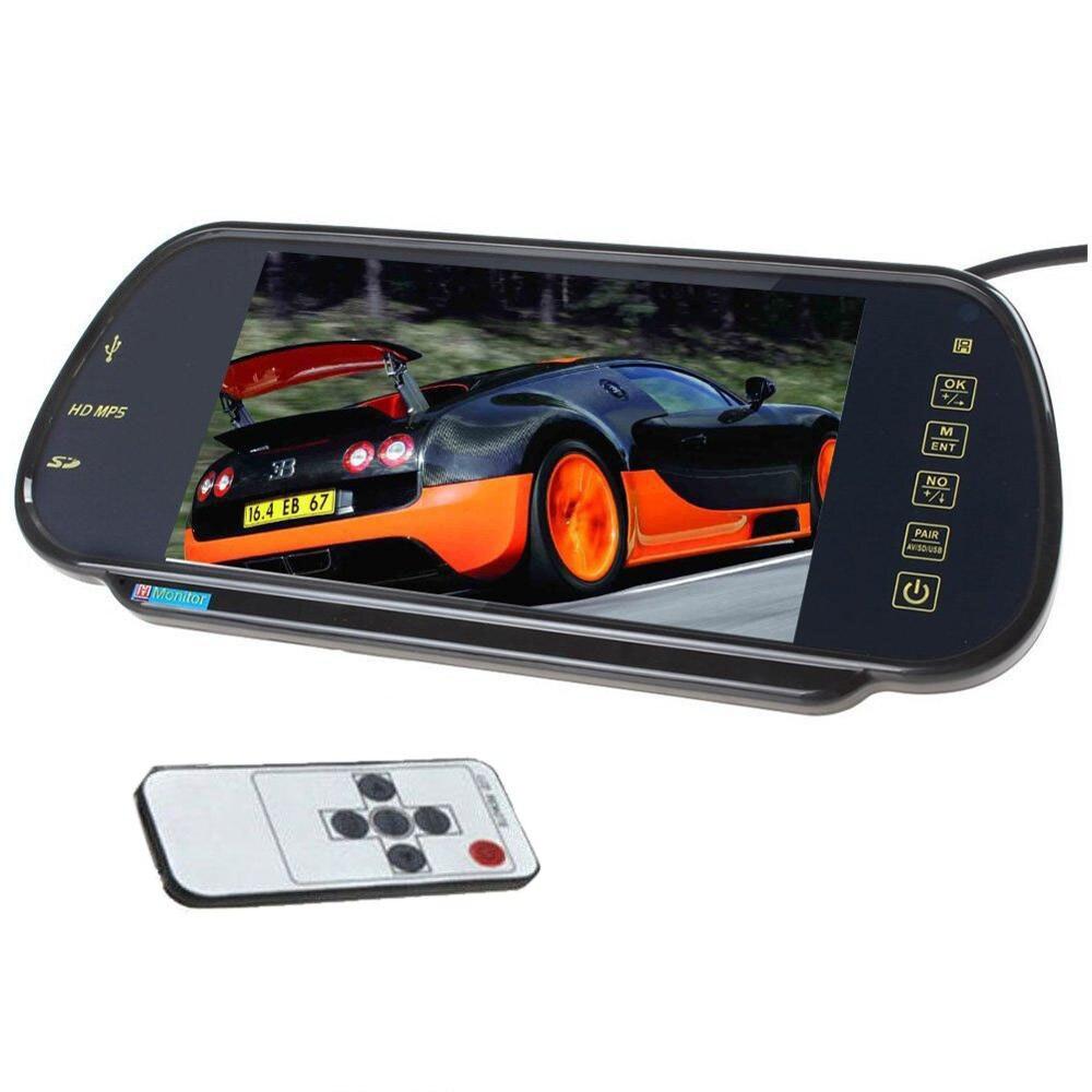 7 ''16:9 TFT LCD écran large voiture rétroviseur moniteur support 2 AV entrée bouton tactile affichage à distance Auto voiture moniteur