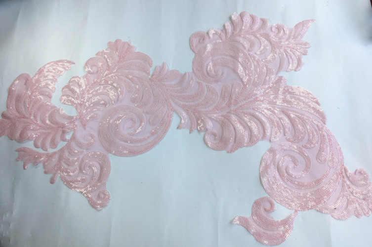 1 шт. большой размер 60X46 см аппликация полиэстер вышитые кружева свадебное платье тело кружевные цветы ткани, материал BD0531