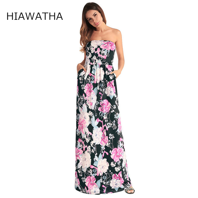 Hiawatha 2018 Summer Floral Printed Maxi Dress Women Sexy Strapless