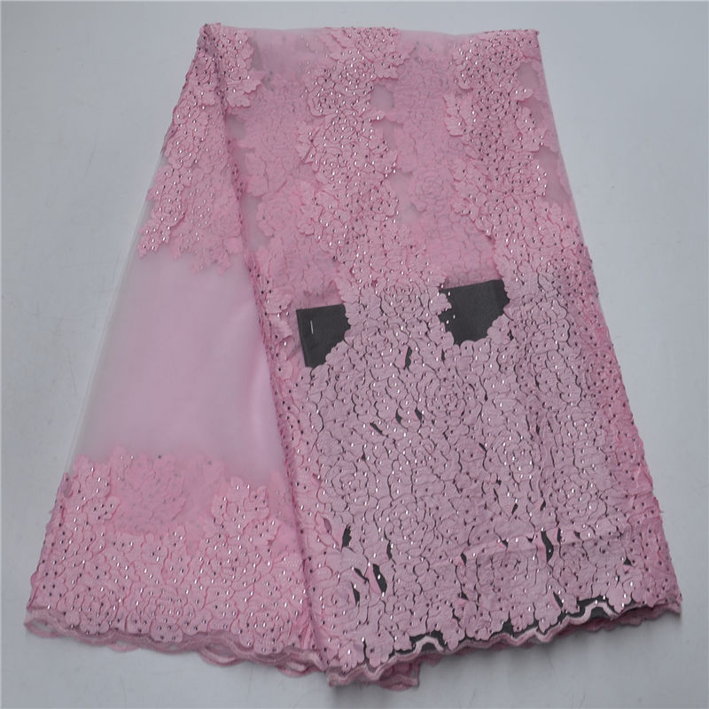 Pink Color Rhinestones Mesh French Lace Fabric With African Lace Fabric Many Stones For Dress 2018 Net Lace Nigerian Material 30