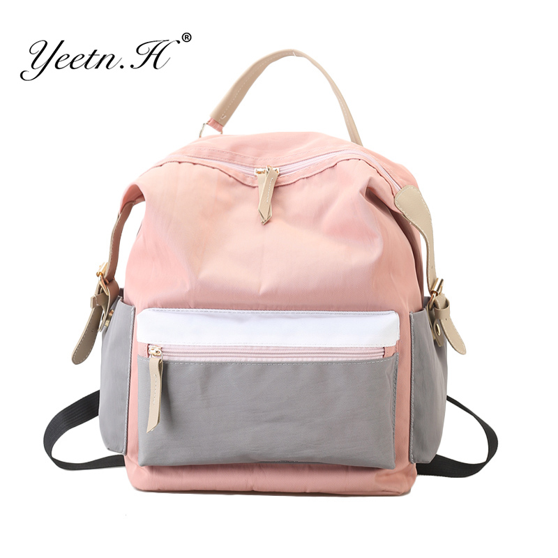 Yeetn.H Fashion Patchwork Nylon Waterproof Backpack Girls School Bag Travel Backbag Women Daily Backpack Multifunction sac Y4259 ...