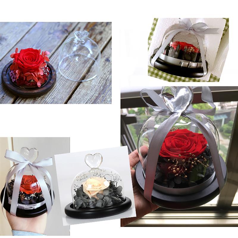 Качественный стеклянный купол Клош друг Подарочная база цветок пейзаж держатель стеклянная крышка черная для дня рождения Хэллоуин свадебные украшения
