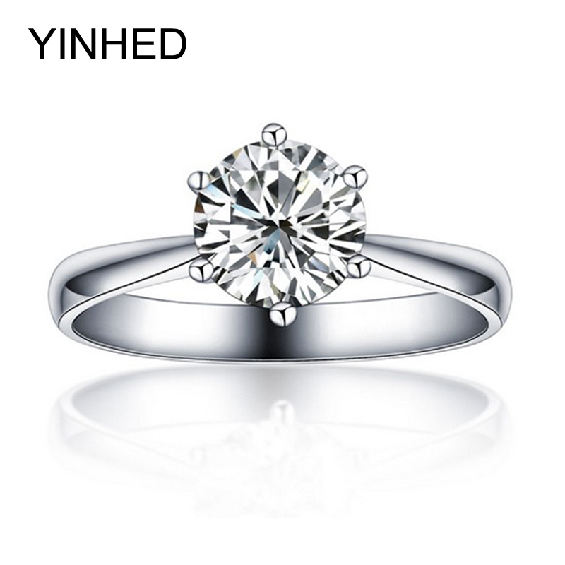 YINHED Brand 925 Sterling Silver 1ct CZ Diamant Wedding Rings for Women Fashion Jewelry Engagement Ring