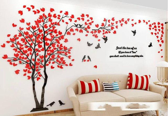 f290c1cf6f4 Birds Creative Tree 3d Wall Stickers Living Room Sofa TV Background Wall  Warm Decoration Acrylic Wall
