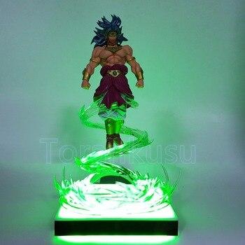 Dragon Ball Z figura de acción Broly con efecto volador Base de luz Led DIY Pantalla de juguete Super Saiyan Dragon Ball Borli DBZ DIY138