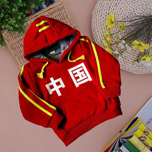 New Hot Outono Inverno Crianças Hoodies Caráter Chinês Impressão Moletom 2-7Yrs Bebés Meninos Meninas Crianças Casaco Quente Outerwear Casuais